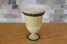 Unusual Rare Antique Wedgwood Etruria Yellow Jasper Ware with Black Relief Vase
