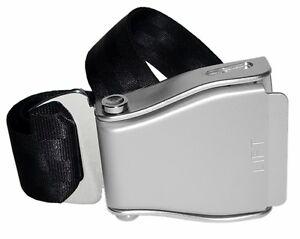 Skybelt Flugzeuggürtel mit Original Schnalle Silber Schwarz NEU Buckle seatbelt