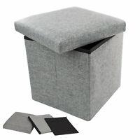 TRIXES Ottoman Storage Box Stool Storage Box with Lid Cube Storage Colour Grey
