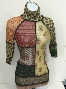 Jean Paul Gaultier Fuzzi Multicolored Printed Mesh Knit Top, Funnel Neck - Med