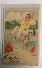 COMIC POSTCARD FROM KUOKKALA FINLAND FISHERMAN 1935