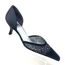 6ecb8b1b2c6 Stuart Weitzman Black Satin Kitten Heel Rhinestone Jeweled Pump Womens SIZE  8 M