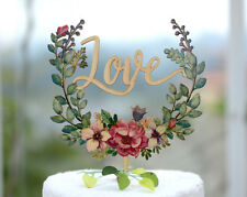 Wedding Cake Topper with Love, Hand Printed w Floral Wreath Made of Wood #153