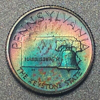 PENNSYLVANIA Proof Franklin Mint Sterling Silver Mini Coin - Rainbow Toning