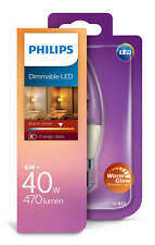 Philips Warmglow LED B22 Bayonet Cap 40w Dimmable Candle Light Bulb 470lm white