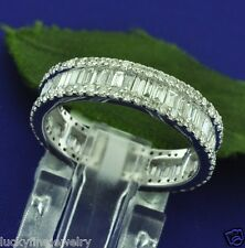 2.30 ct 18k Solid White Gold Baguette Eternity Band Natural Diamond Ring Size 6