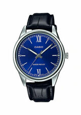 Casio MTP-V005L-2B Men's Standard Analog Black Leather Band Blue Dial Watch