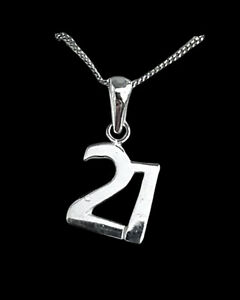 White gold finish special 21st birthday pendant necklace free postage gift box