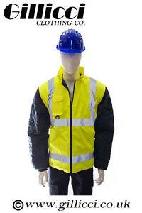 NEW HI VIZ VIS VISIBILITY WORK WEAR SAFETY 3 IN 1 QUILTED BODYWARMER JACKET COAT