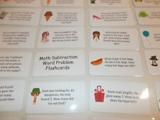 Math Subtraction Word Problem Cards. Preschool math flash cards. Learning activ