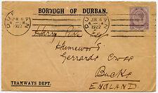 Afrique du Sud, Durban tramways enveloppe 1922 à Go Gerrards Cross Tête 2D