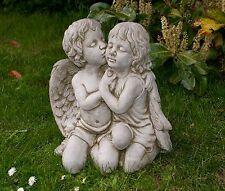 TWIN KISSING ANGELS Stone Cast Handmade Garden Ornament Statue Koi
