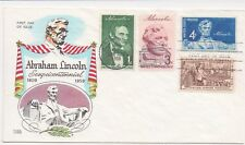 US FDC 1959 Lincoln Sesquicentennial Multi-Stamp Cover w Fluegel Cachet |