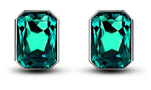 Large stone Earrings for Women Square Shape Emerald Green Studs for Ladies