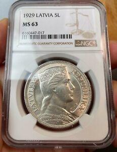 NGC MS63 Latvia 1929 Silver Coin 5 Lati