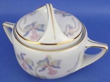 Bohemia Ceramic Works Czechoslovakia Orchid Iris Sugar Bowl w/ Lid Vintage