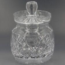Vintage Tudor England Cut Crystal Honey Pot Jam Jar with Lid