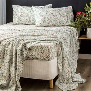 Park Avenue 175 GSM Egyptian Cotton Flannelette printed Sheet Sets Eucalyptus