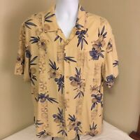 Paradise Collection Mens Hawaiian Aloha Camp Shirt 100% Silk Tan Blue Floral XL