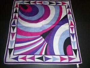 "Vintage Emilio Pucci Purple Abstract Geometric Cotton Scarf Handkerchief 16"""