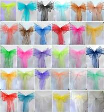 Organza Chair Cover Sash Bow Wedding Party Banquet Chair 30 color #YS01