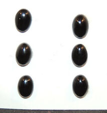 Black Agate 6x8mm with 3mm dome Cabochons Set of 6 (10041)