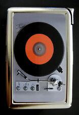 Record Player 01 Cigarette Case Built in Lighter Card Holder Vintage Retro Music