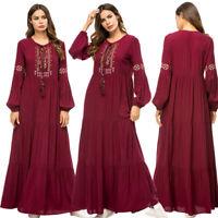 Women Muslim Embroidery Long Maxi Dress Robe Islamic Kaftan Dubai Cocktail Abaya