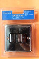 Genuine Deta 2905CHB Polished Chrome 10AX 3G 2 way switch Black Inserts