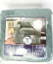 Maytex Pixel Stretch 2 Piece Chair Furniture Cover Slipcover Steel Blue