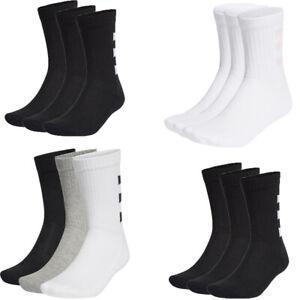 Adidas Socks Mens Womens 3 Pairs Crew Socks 3-Stripes Half Cushioned Long Size