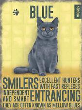 style vintage chic Plaque murale en métal russe bleu chat chaton cadeau cuisine