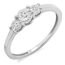 Sterling Silver Diamond Ladies 3 Stone Engagement Promise Ring 1/5 CT Size 8