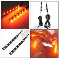 2x 12V Orange 6 LED SMD Moto Vélo VTT Feux Bande Clignotant Indicateur Lumière