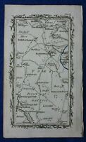 Rare antique road map, YORKSHIRE, EASINGWOLD, M. Armstrong, 1776