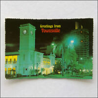 Greetings from Townsville NQ The Flinders Mall by night MV 1984 Postcard (P358)