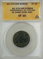 379-395 AD Roman Theodosius I Rome Mint Ancient Bronze Coin AE ANACS VF 30