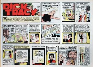 Dick Tracy by Chester Gould - large half-page color Sunday comic - July 20, 1975