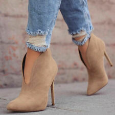 US10.5 Womens Faux Suede Pointed Toe Stilettos High Slim Heels Ankle Boots Shoes