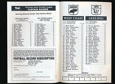 1992 Fosters Cup West Coast Eagles v Geelong Quarter Final Football Record Cats
