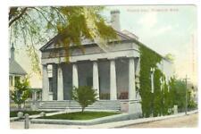 Plymouth, MA  Pilgrim Hall   used  postcard 1909 flag cancel Alfred Burbank pub