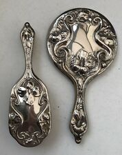 Vintage Silver Plated Hand Mirror & Brush