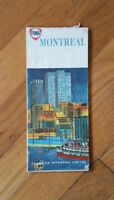 Vintage 1964 FINA Paper Fold out Road Map Montreal Quebec Canada
