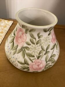 Yankee Candle Large Jar Shade Topper Floral Roses Flowers Pink And Green