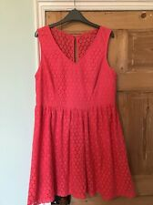 New Look Coral Pink Sleeveless Skater Dress Plus Size 16 Crochet Style Lined