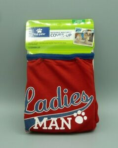Top Paw Washable Male Dog Wrap Cover up Size Large 45-90 LBS Red Ladies Man