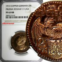 GERMANY PRUSSIA Goetz Copper Proof Pattern 1913 2 Mark NGC PF63 RB Schaaf-111/G3