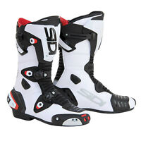 Sidi Mag-1 CE Approved Motorcycle Motorbike Sports Race Boots - White/Black