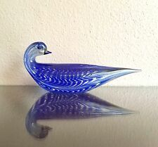 Gino Cenedese Blue Murano Glass Bird Dove, Signed Dated 2000 Italy