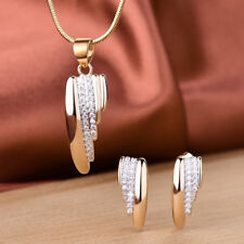 Unique Women Swarovski Crystal Gold Stud Earrings Pendant Necklace Jewellery Set
